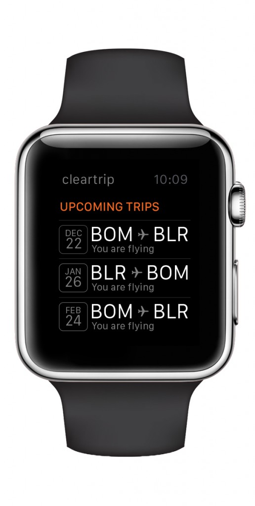 Cleartrip apple watch app upcoming flights