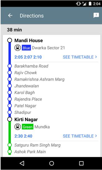 Google Delhi Metro App