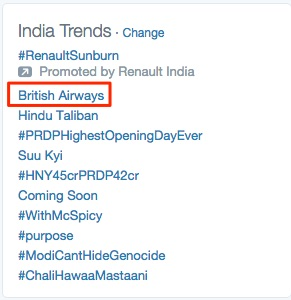British Airways, Trending on Number 1 position in India