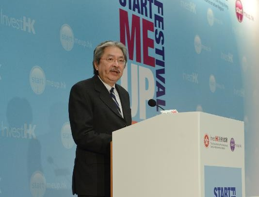 The Financial Secretary, Mr John C Tsang, this morning (January 26) gives the opening remarks at the StartmeupHK Venture Forum 2016 held by Invest Hong Kong