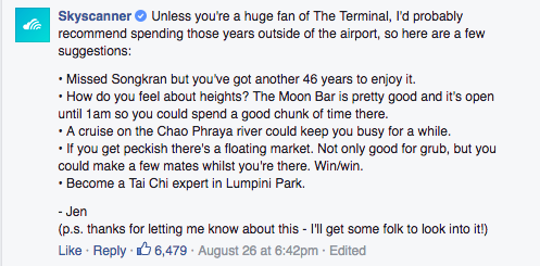 At this point Jen an executive from Skyscanner's social media executive team responded with an epic comment