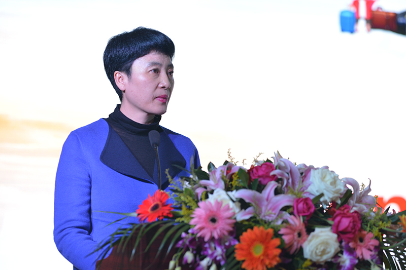 Director-General of Chengdu Municipal Tourism Administration, Ms Duoyang Namu, addresses the audience during the Opening Ceremony