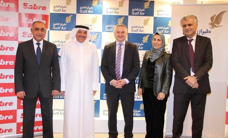 L to R: Ahmed Janahi, Gulf Air; Maher AlMussalam, Gulf Air; Dino Gelmetti, Sabre; Raida Abumaizar, Sabre; Dr. Jassim Haji, Gulf Air