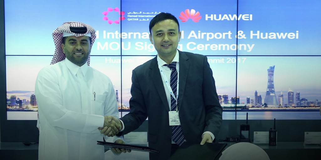 Eng. Badr Mohammed Al Meer, Chief Operating Officer at HIA (left) and Xilin Yuan, President of the Transportation Sector of Huawei's Enterprise Business Group(right) (PRNewsfoto/Huawei)