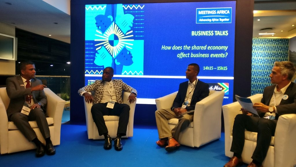 Panel on Shared Economies at Meetings Africa 2018: Image Credit Visit Gauteng on Twitter. From L to R: Senthil Gopinath, ICCA Regional Director for Middle East, Raymond Ledwaba, CEO - IT Think Smart Solutions, Byron Moorgas from Always Innovative Solutions and Rashid Toefy, deputy director-general of economic developments of the Western Cape government