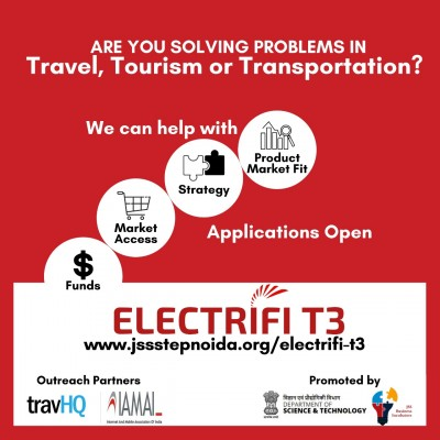 Electrifi T3 – Accelerator Program in Travel, Tourism and Transportation provides seed funding upto 30 lacs